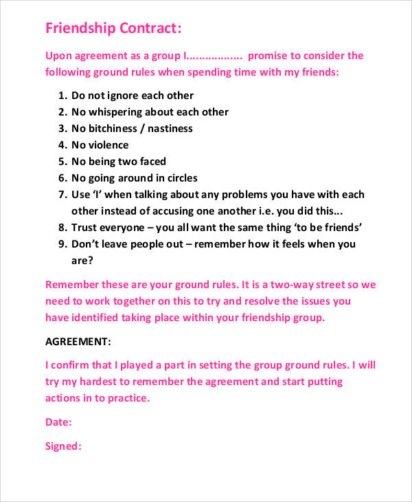 Friendship Agreement Contract for Printable Agreement