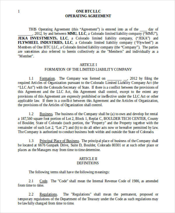 General Operating Agreement for Agreement In Word