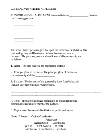 General Partnership Agreement for Agreement In Pdf