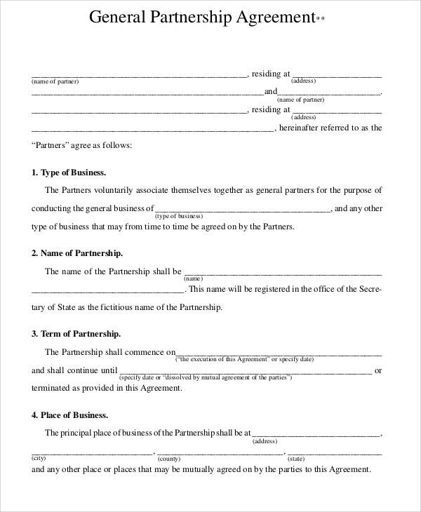 General Partnership Agreement for Sample Agreements