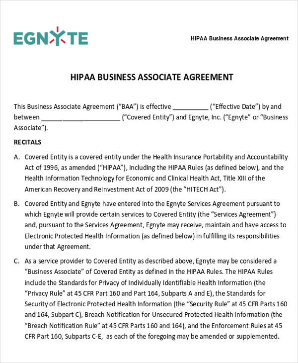 HIPAA Business Associate Agreement Form for Business Agreement Form
