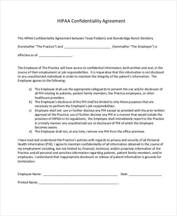 HIPAA Confidentiality Agreement for Sample Agreements