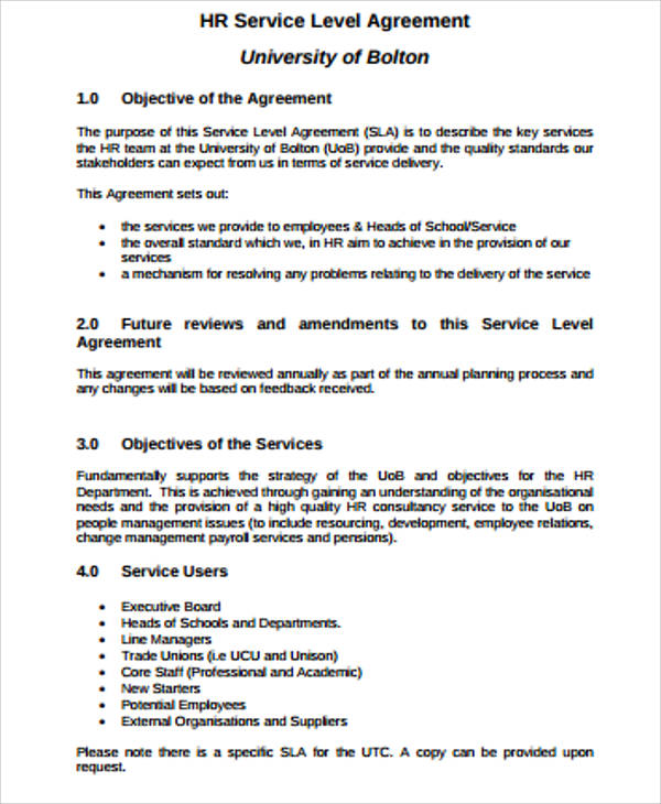 Hr Business Service Level Agreement for Business Service Level Agreement
