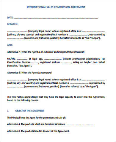 International Sales Commission Agreement for Commission Agreement