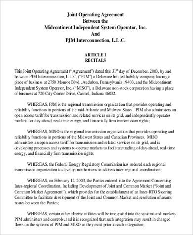 Joint Operating Agreement for Agreement In Pdf