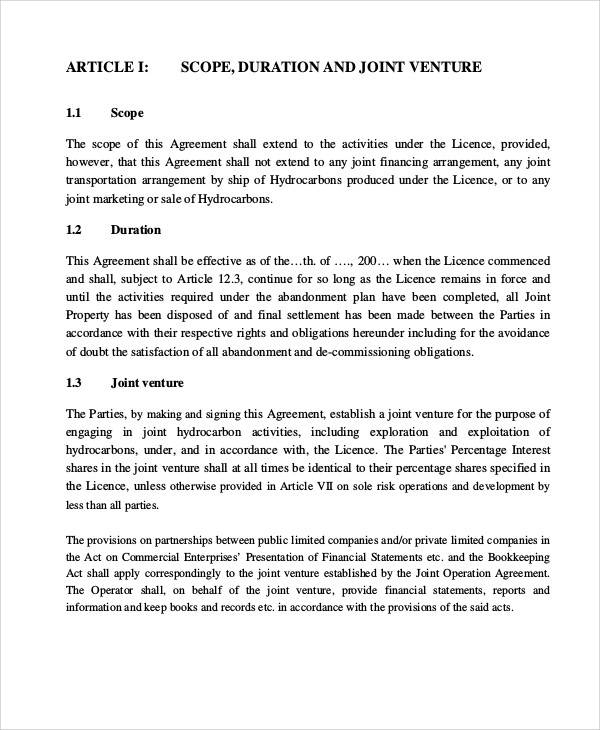 Joint Operating Agreement for Printable Agreement