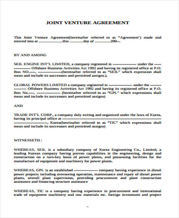 Joint Venture Agreement Example for Free Sample Agreements