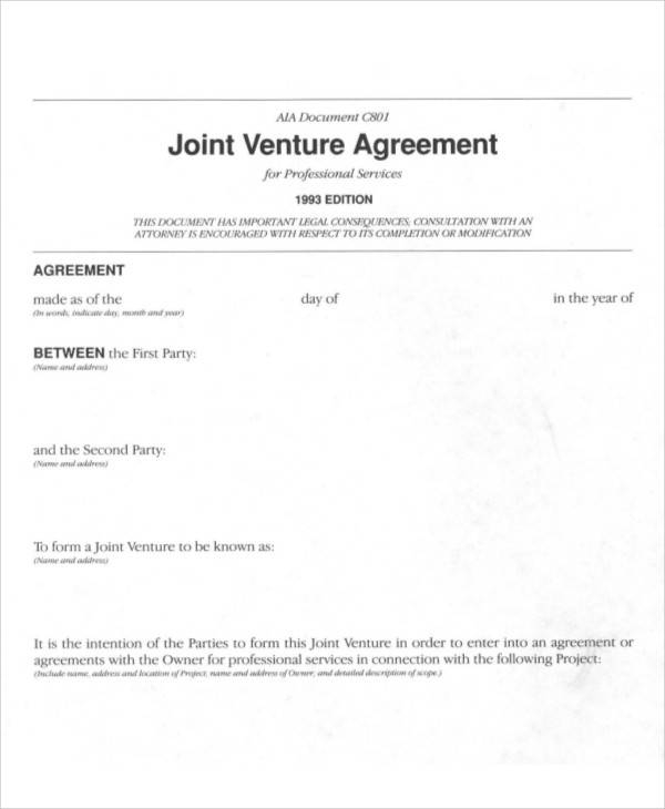 Joint Venture Agreement Example for Sample Agreements