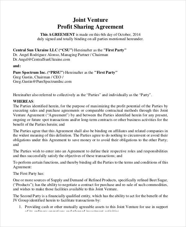 Joint Venture Profit Sharing Agreement for Sample Agreements