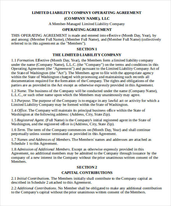 LLC Operating Agreement for Agreement In Word