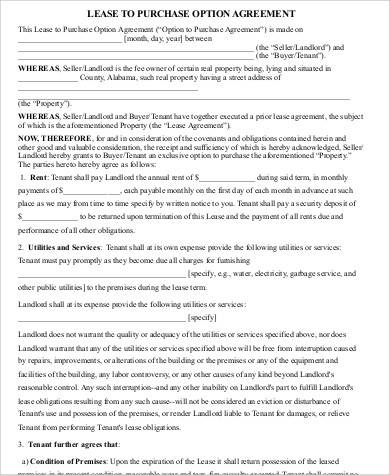 Lease Purchase Agreement Form for Printable Agreement