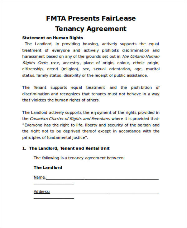 Lease Tenancy Agreement for Agreement In Word