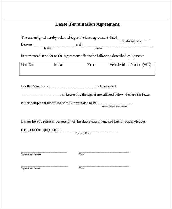 Lease Termination Agreement for Printable Agreement