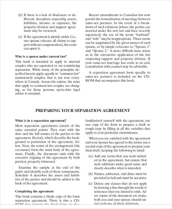 Legal Separation Agreement for Printable Agreement