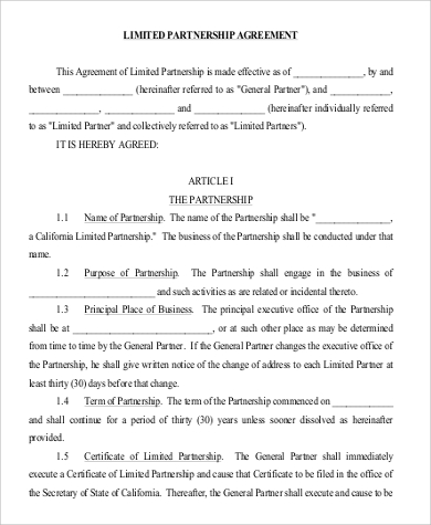 Limited Partnership Agreement for Agreement In Pdf