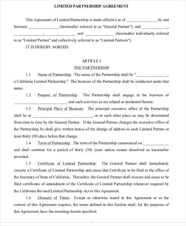 Limited Partnership Agreement for Sample Agreements