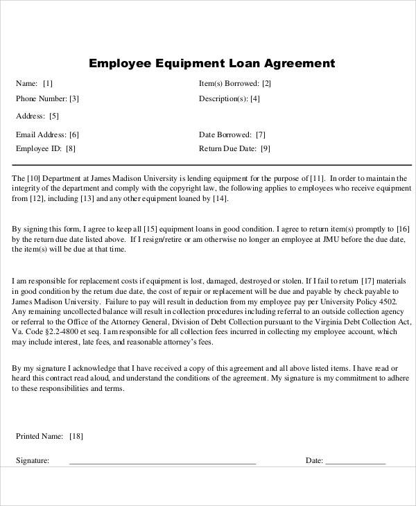 Loan to Employee Agreement for Printable Agreement