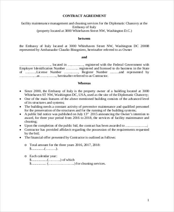 Maintenance Management Contract Agreement for Maintenance Contract Agreement