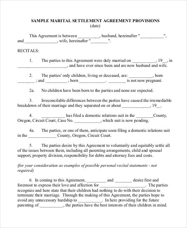 Marriage Separation Agreement for Printable Agreement