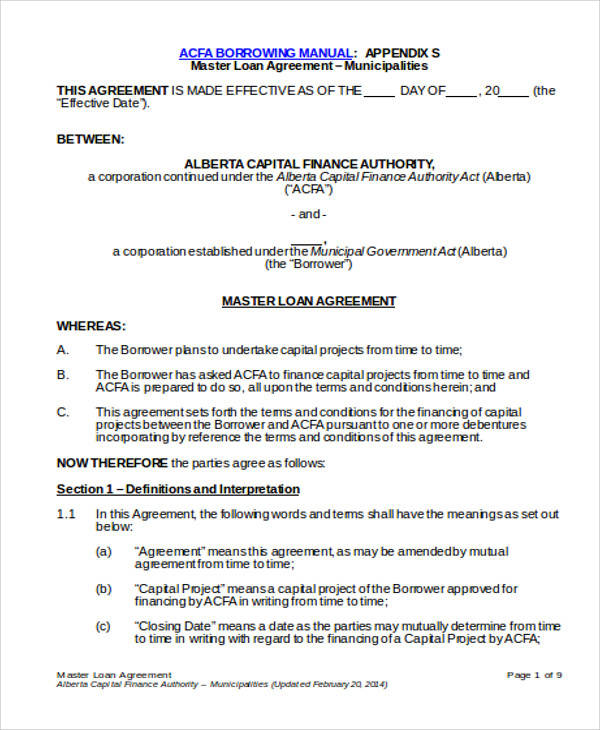 Master Loan Agreement for Agreement In Word