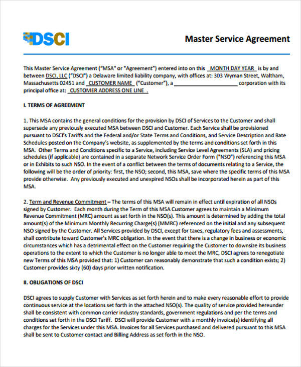 Master Service Agreement for Free Sample Agreements