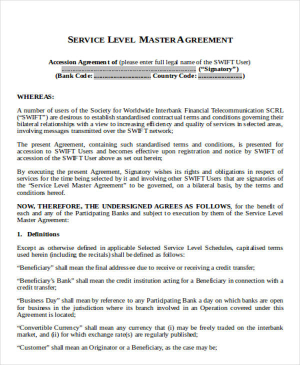 Master Service Level Agreement for Agreement In Word
