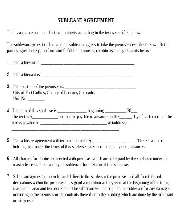 Model Sublease Business Agreement Form for Business Agreement Form