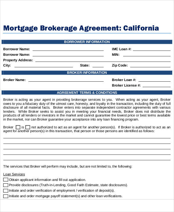 Mortgage Brokerage Agreement for Printable Agreement
