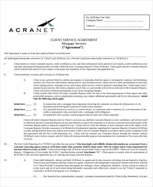 Mortgage Service Agreement for Printable Agreement