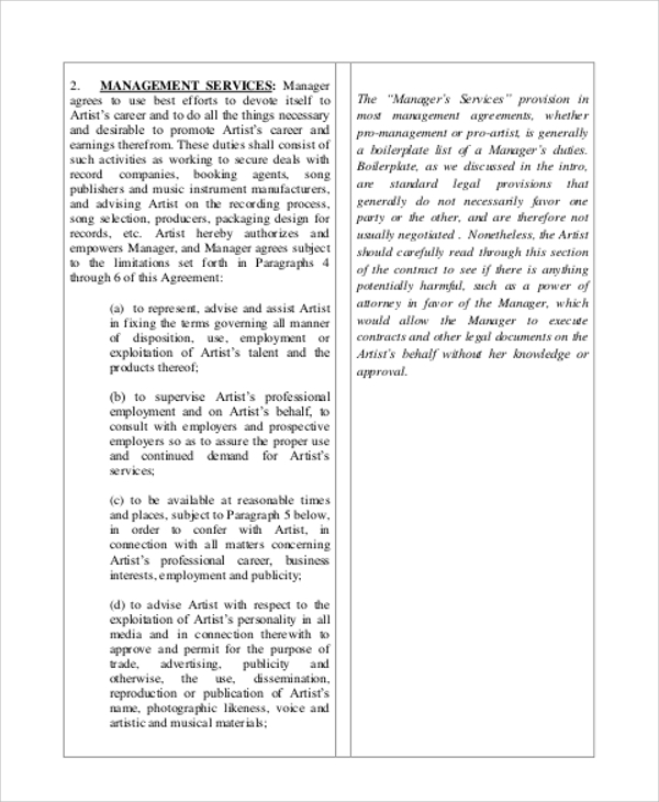 Music Manager Agreement Contract for Music Agreement Contract