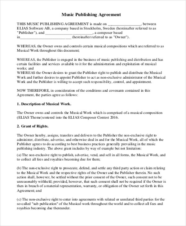 Music Publishing Agreement Contract For Music Agreement Contract