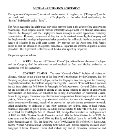 Mutual Arbitration Agreement for Agreement In Pdf