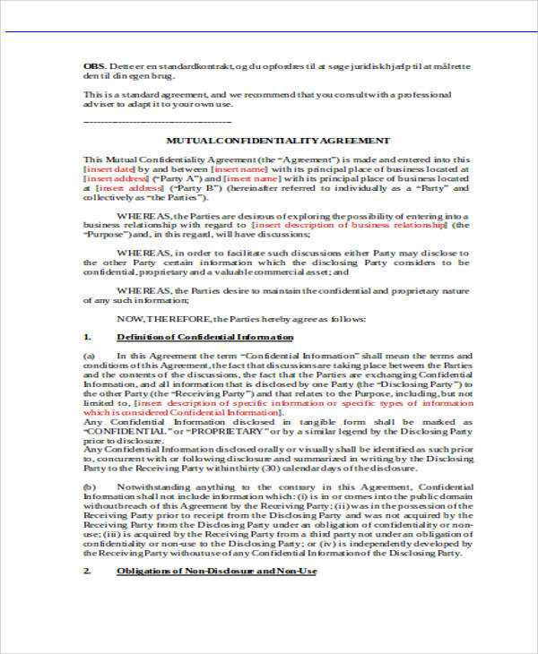 Mutual Confidentiality Agreement for Agreement In Word