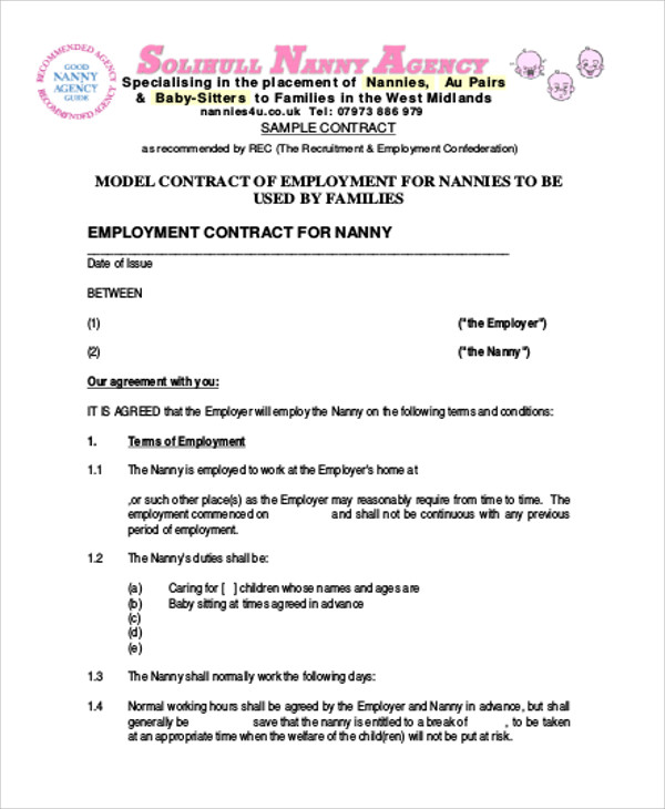 Nanny Family Agreement Contract for Nanny Agreement Contract
