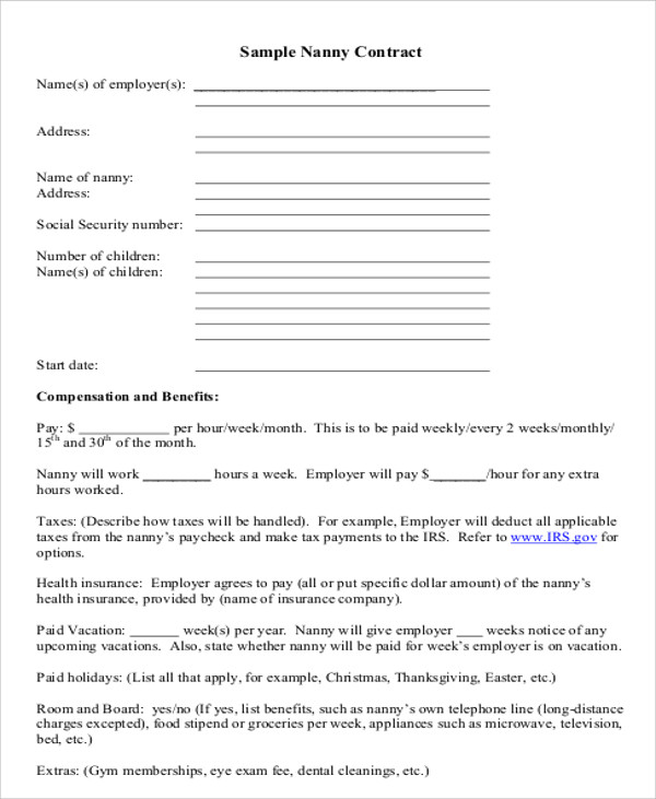 Nanny Service Agreement Contract for Nanny Agreement Contract