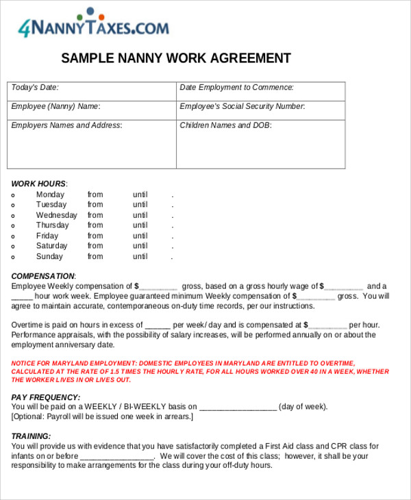 Nanny Work Agreement Contract PDF for Nanny Agreement Contract