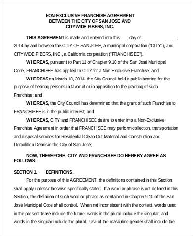 Non Exclusive Franchise Agreement for Agreement In Pdf