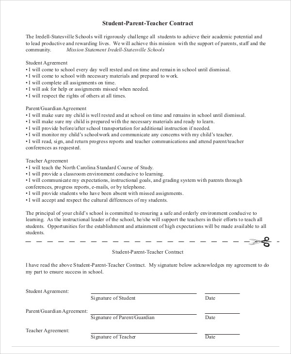 Parent Student Teacher Agreement Contract for Student Agreement Contract