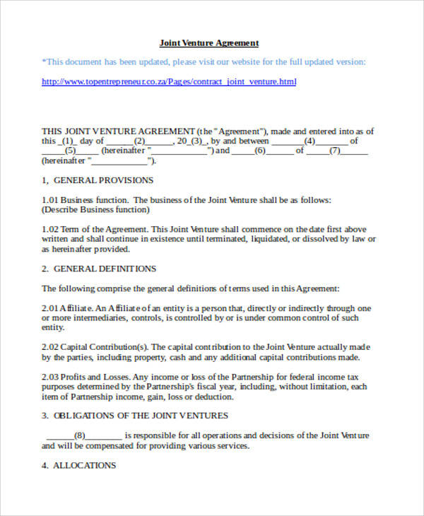 Partnership Joint Venture Agreement for Agreement In Word