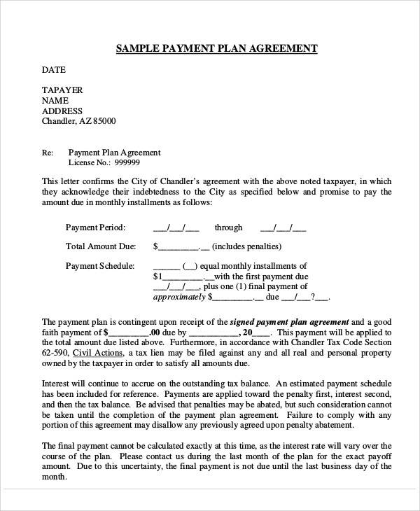 Payment Plan Agreement for Printable Agreement