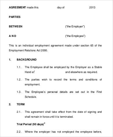 Permanent Employment Agreement for Agreement In Pdf