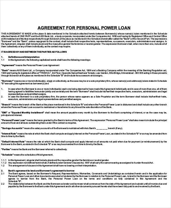 Personal Loan Agreement for Printable Agreement