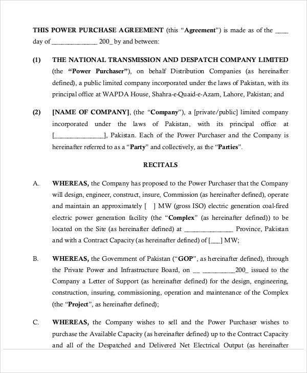 Power Purchase Agreement for Sample Agreements