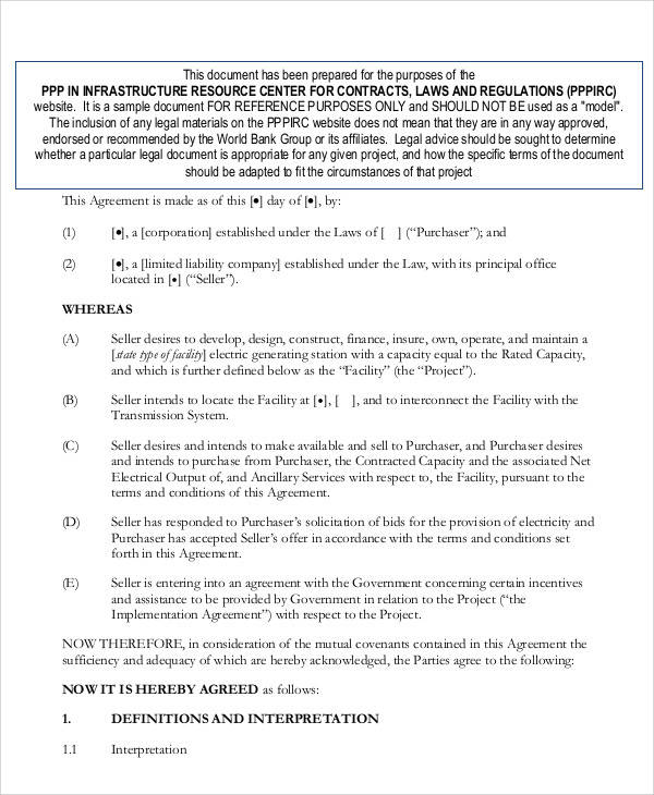 Power Purchase Agreement for Printable Agreement