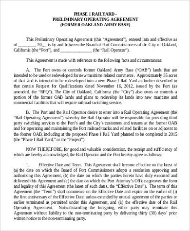 Preliminary Operating Agreement for Agreement In Pdf