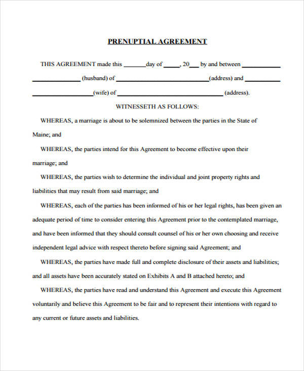 Prenuptial Agreement Example for Free Sample Agreements