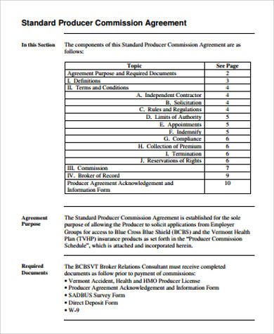 Producer Commission Agreement for Commission Agreement