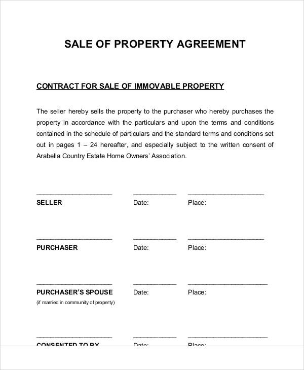 Property Agreement of Sale for Sample Agreements