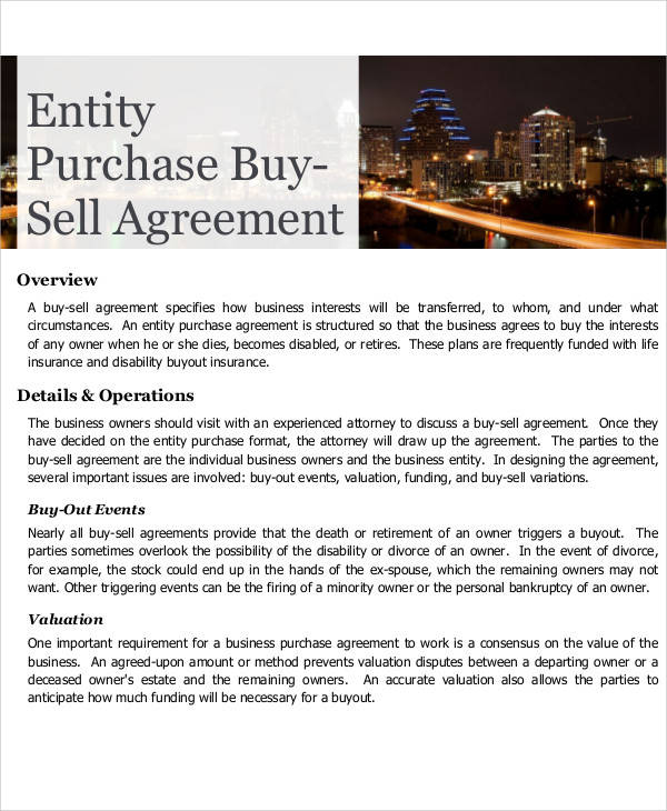 Purchase Buy Sell Agreement for Printable Agreement