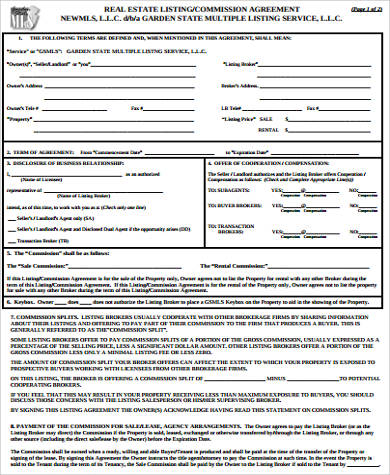 Real Estate Commission Agreement for Commission Agreement